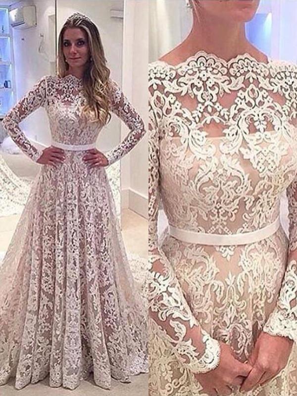 Court Train A-Line/Princess Long Sleeves Bateau Lace Wedding Dresses