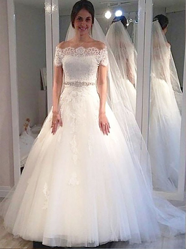 Sweep/Brush Train Ball Gown Short Sleeves Off-the-Shoulder Tulle Wedding Dresses