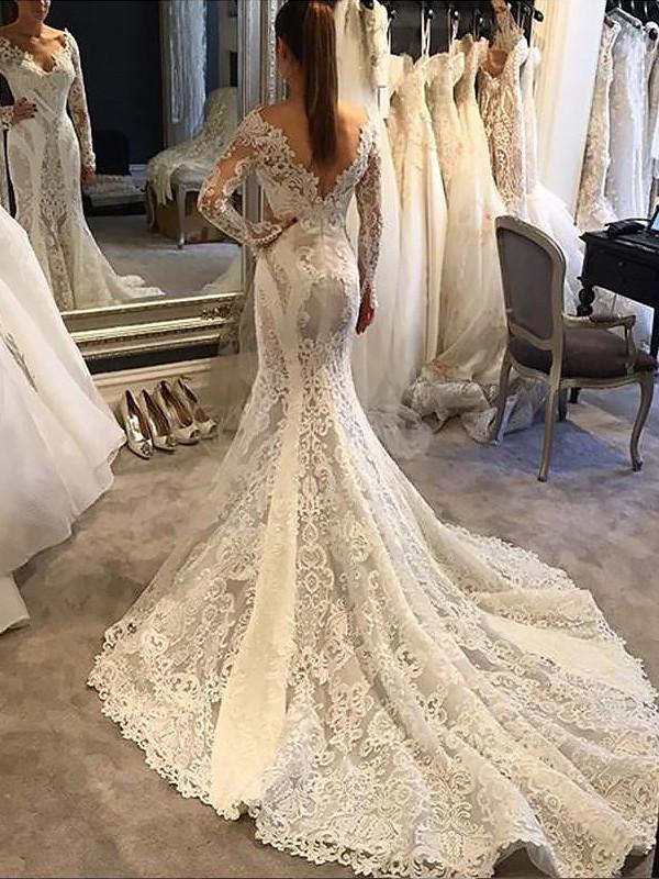 Court Train Trumpet/Mermaid Long Sleeves V-neck Lace Wedding Dresses