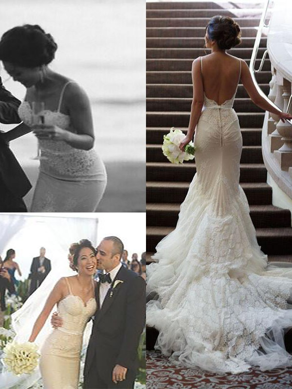 Court Train Trumpet/Mermaid Sleeveless Spaghetti Straps Tulle Wedding Dresses