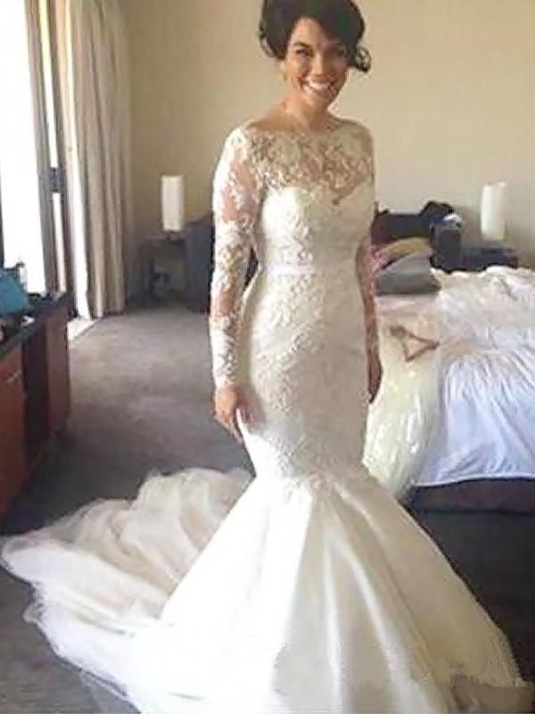 Court Train A-Line/Princess Long Sleeves Bateau Tulle Wedding Dresses