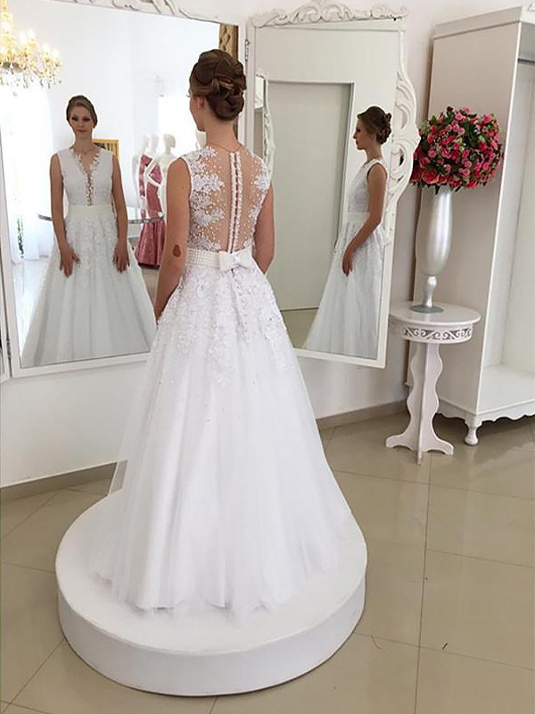 Sweep/Brush Train Trumpet/Mermaid Sleeveless Scoop Lace Wedding Dresses