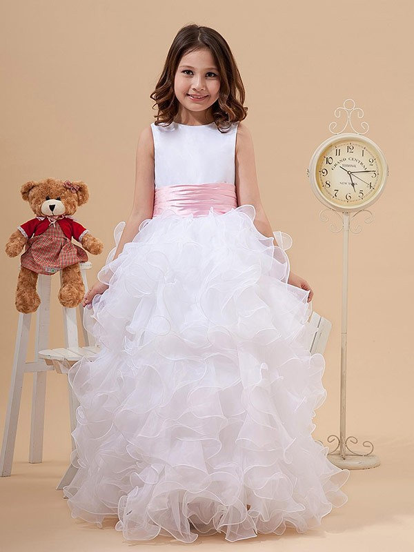 Floor-Length A-Line/Princess Scoop Sleeveless Bowknot Organza Flower Girl Dresses