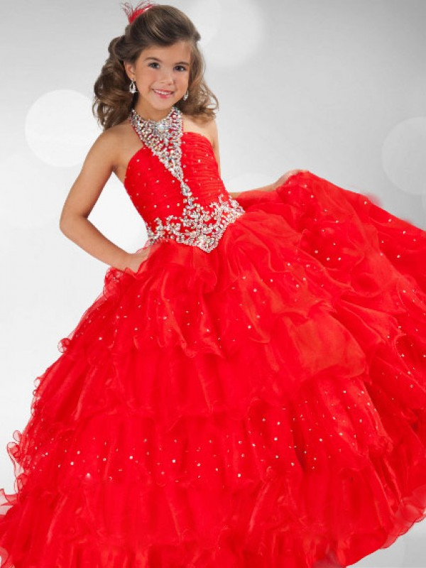 Floor-Length Ball Gown Halter Sleeveless Sequin Organza Flower Girl Dresses