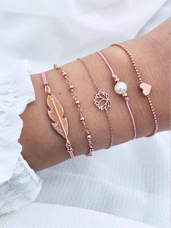 Sundry Alloy With Leaf Hot Sale Bracelets(5 Pieces)