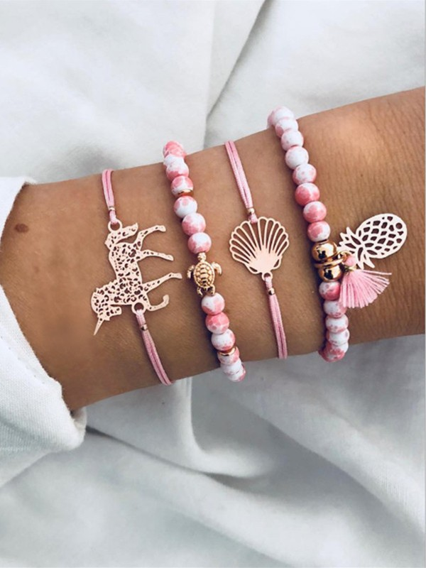 Simple Alloy With Pineapple Hot Sale Bracelets(4 Pieces)