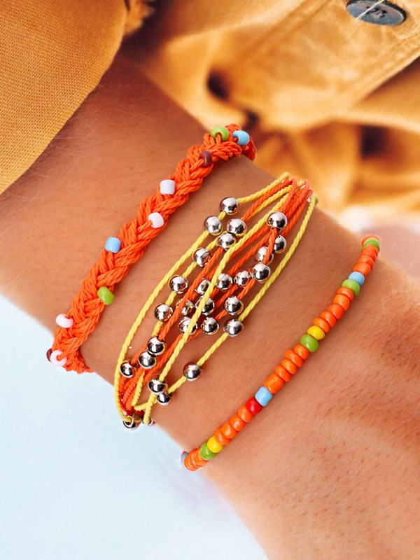 Fashion Alloy With Metal Beads Hot Sale Bracelets(3 Pieces)