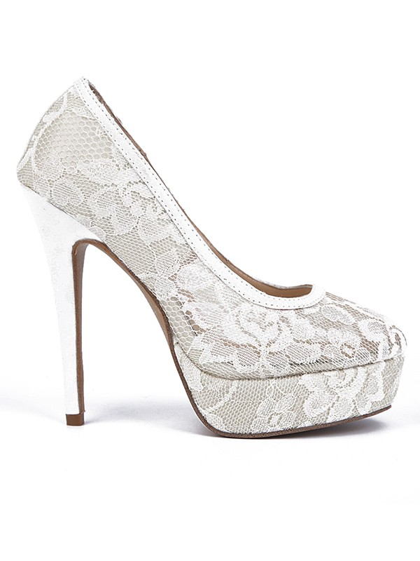 The Most Fashionable Women's Lace Stiletto Heel Closed Toe Platform High Heels