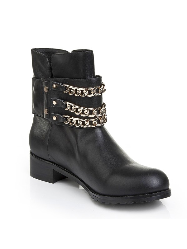 a27c1e91249f The Most Fashionable Women s Cattlehide Leather Kitten Heel With Chain  Booties Ankle Black Boots