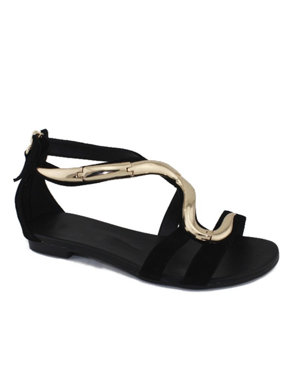 The Most Fashionable Women's Flat Heel Suede Peep Toe With Zipper Sandals Shoes