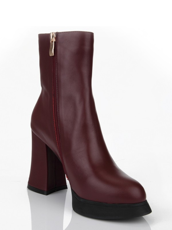 The Most Fashionable Women's Cattlehide Leather Chunky Heel Closed Toe With Zipper Mid-Calf Burgundy Boots