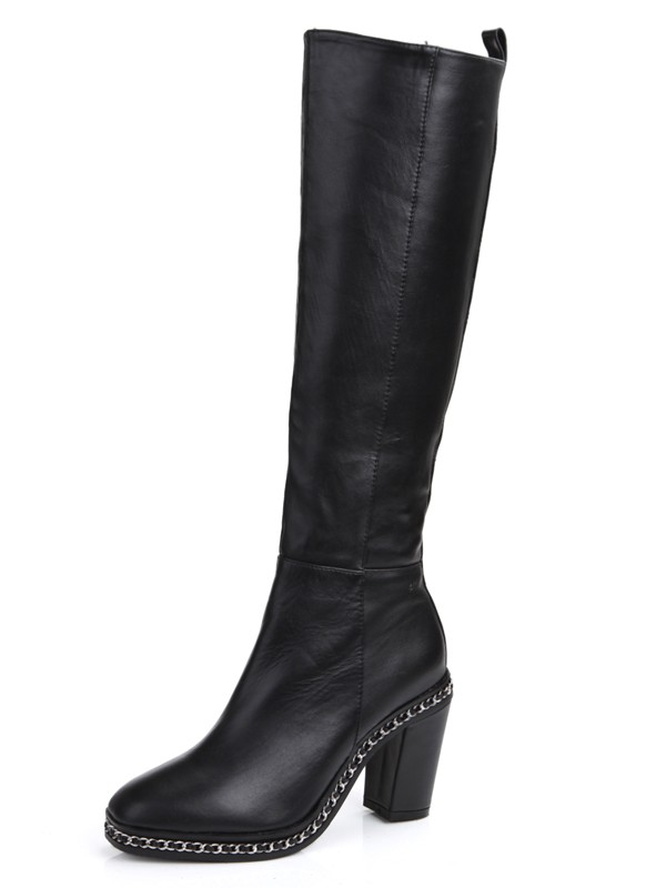 ff5c8198d67a The Most Fashionable Women s Cattlehide Leather Chunky Heel Closed Toe With  Chain Knee High Black Boots