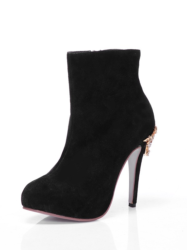 The Most Trendy Women's Suede Closed Toe Platform Stiletto Heel With Rhinestone Ankle Black Boots