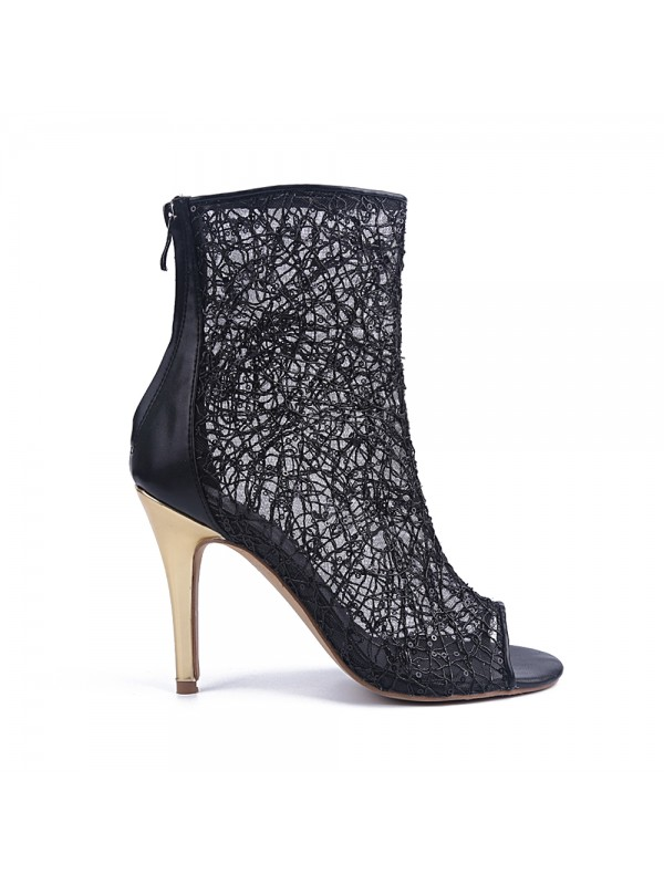The Most Fashionable Women's Lace Peep Toe Stiletto Heel With Zipper Party Sandal Ankle Black Boots