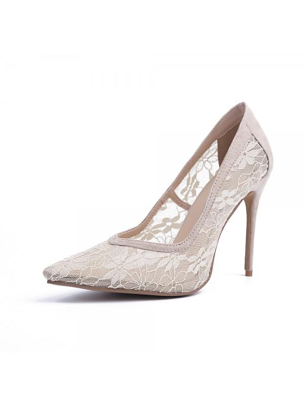 The Most Stylish Women's Closed Toe Lace Stiletto Heel High Heels