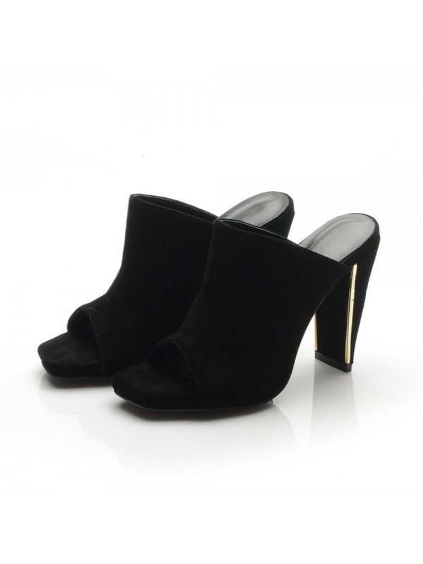 The Most Trendy Women's Peep Toe Platform Chunky Heel Suede Sandals Shoes