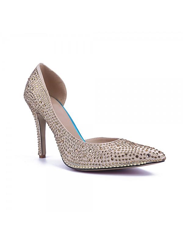 The Most Trendy Women's Closed Toe Satin Stiletto Heel With Rhinestone High Heels