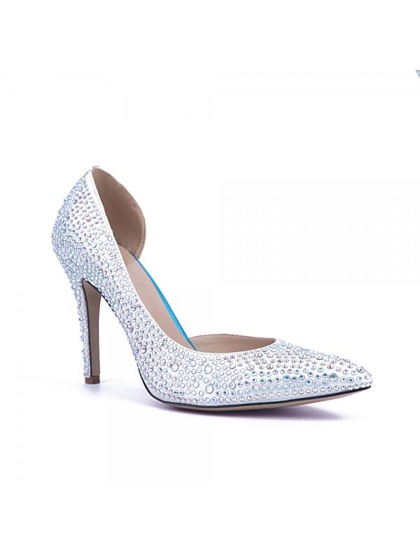 The Most Trendy Women's Satin Closed Toe Stiletto Heel With Rhinestone High Heels