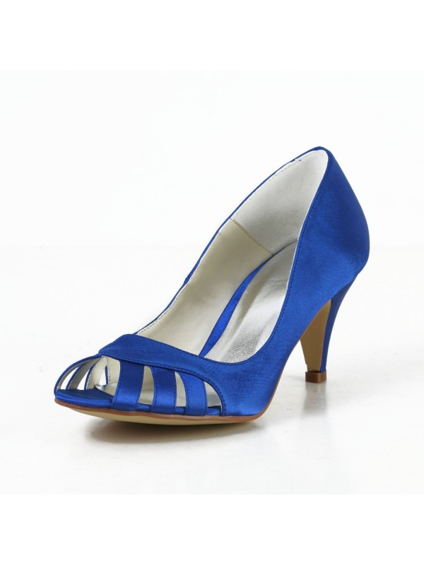 The Most Trendy Women's Satin Cone Heel Peep Toe Pumps High Heels With Hollow-out