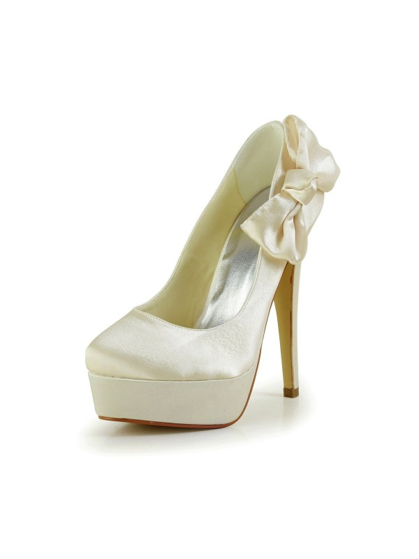 079812e8d06 The Most Stylish Women s Satin Stiletto Heel Closed Toe Platform Champagne Wedding  Shoes With Bowknot