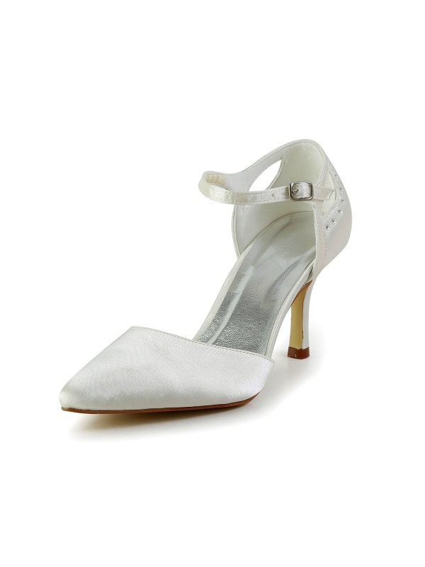 The Most Fashionable Women S Satin Stiletto Heel Closed Toe Pumps White Wedding Shoes