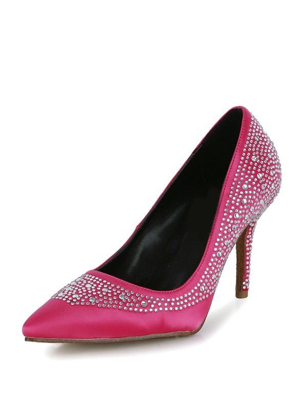 The Most Trendy Women's Stiletto Heel Silk Closed Toe With Rhinestone High Heels