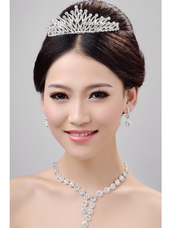 Gorgeous Stunning Alloy Clear Crystals Wedding Headpieces Necklaces Earrings Set