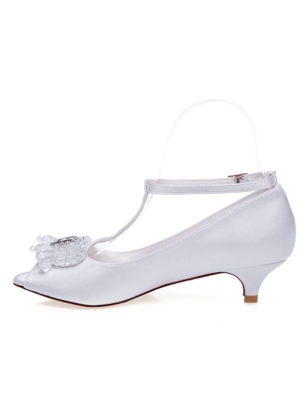 The Most Stylish Women's Satin Peep Toe Cone Heel Wedding Shoes