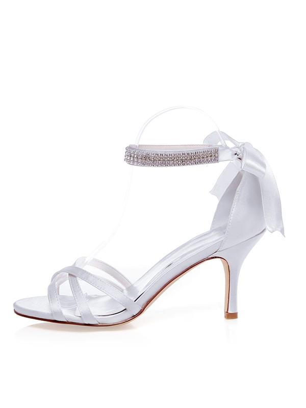 The Most Stylish Women's Satin Peep Toe Stiletto Heel Silk Wedding Shoes