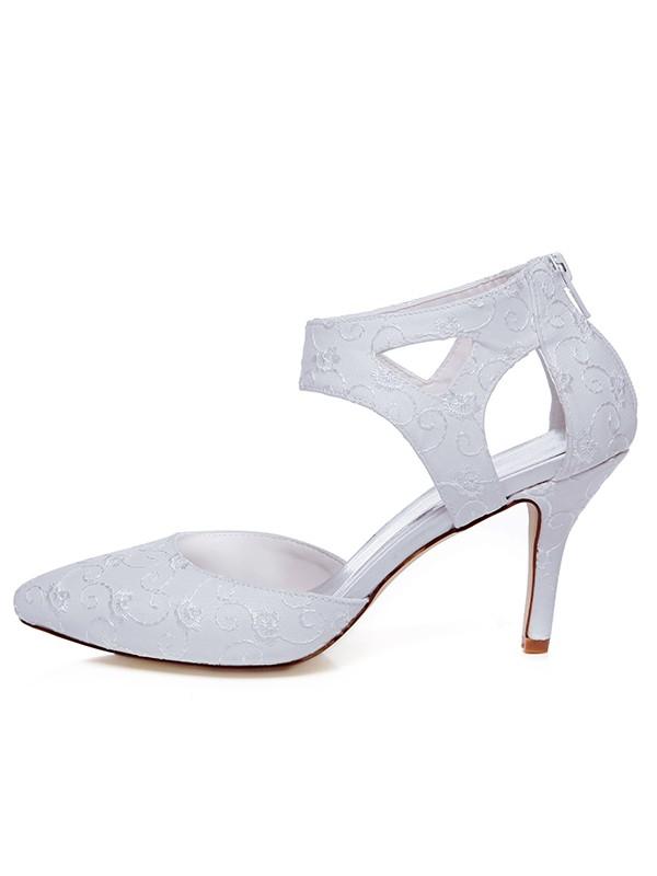 The Most Stylish Women's Satin Closed Toe Spool Heel Zipper Wedding Shoes