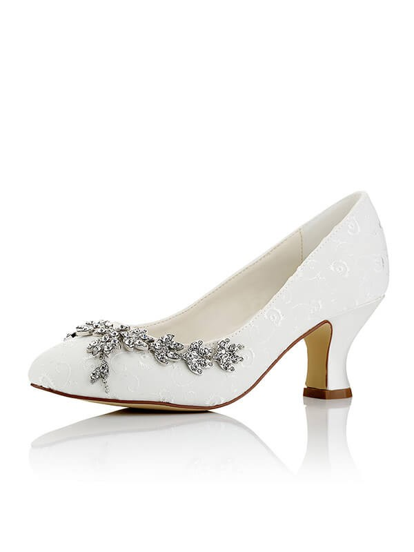 Fashion Satin PU Closed Toe Spool Heel Wedding Shoes For Women