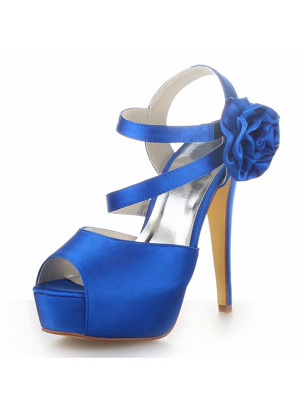 Fashion Trends Women's Satin Peep Toe Platform Stiletto Heel With Flower Sandals Shoes