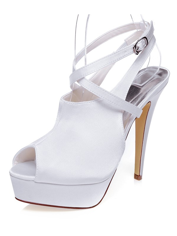 The Most Stylish Women's Satin Peep Toe Stiletto Heel Knots Wedding Shoes