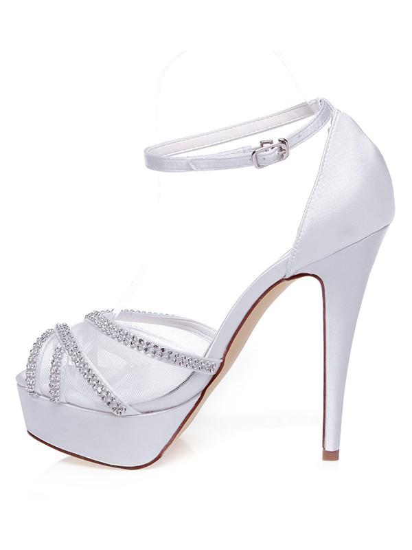 The Most Fashionable Women's Satin Peep Toe Stiletto Heel Rhinestones Wedding Shoes