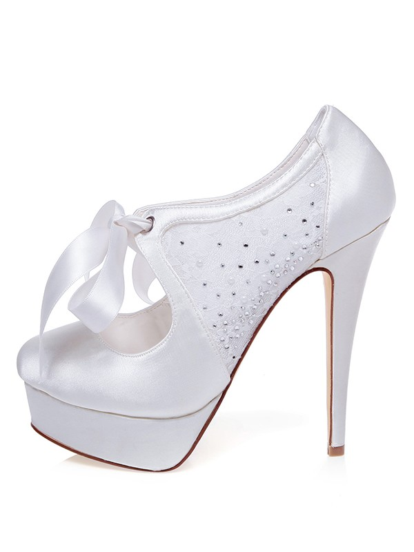 The Most Fashionable Women's Satin Closed Toe Stiletto Heel Silk Wedding Shoes