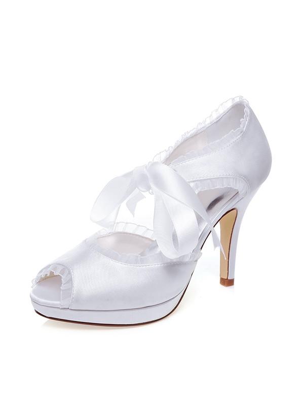 The Most Fashionable Women's Satin Peep Toe Silk Stiletto Heel Wedding Shoes