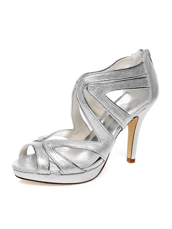 The Most Fashionable Women's PU Peep Toe Zipper Stiletto Heel Wedding Shoes