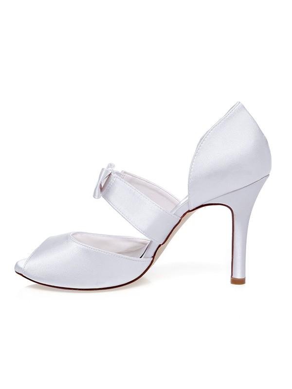 The Most Fashionable Women's Satin Peep Toe Bowknot Stiletto Heel Wedding Shoes