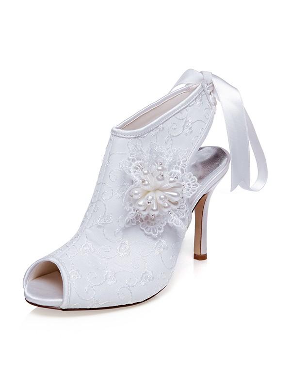 The Most Fashionable Women's Satin Peep Toe Flower Stiletto Heel Wedding Shoes