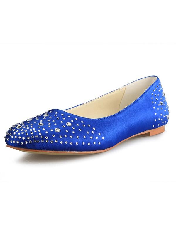 Fashion Trends Women's Flat Heel Satin Closed Toe With Rhinestone Flat Shoes