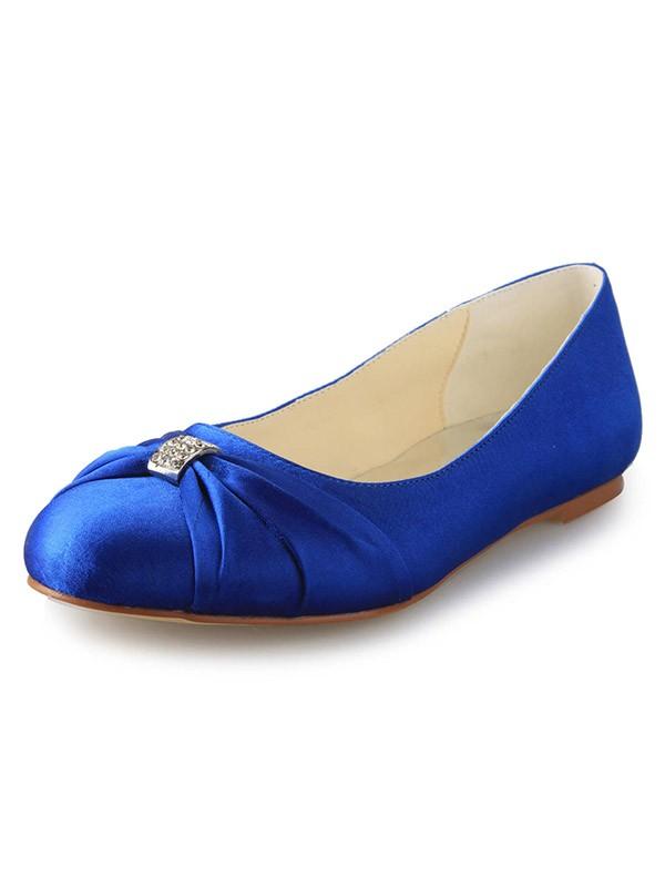 Fashion Trends Women's Flat Heel Closed Toe Satin With Rhinestone Flat Shoes