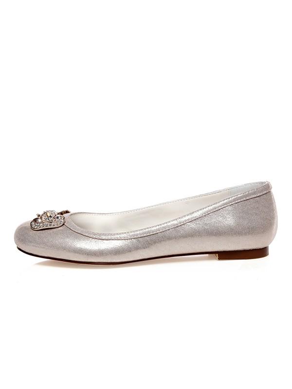 The Most Fashionable Women's PU Closed Toe Rhinestones Flat Heel Wedding Shoes