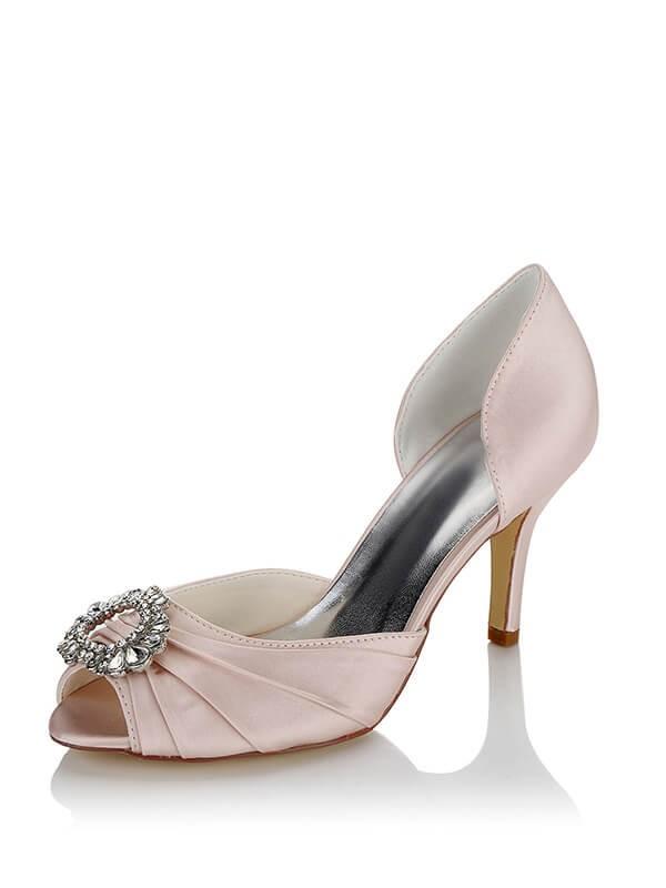 efb01f848b3f Stylish Satin PU Peep Toe Stiletto Heel Wedding Shoes For Women