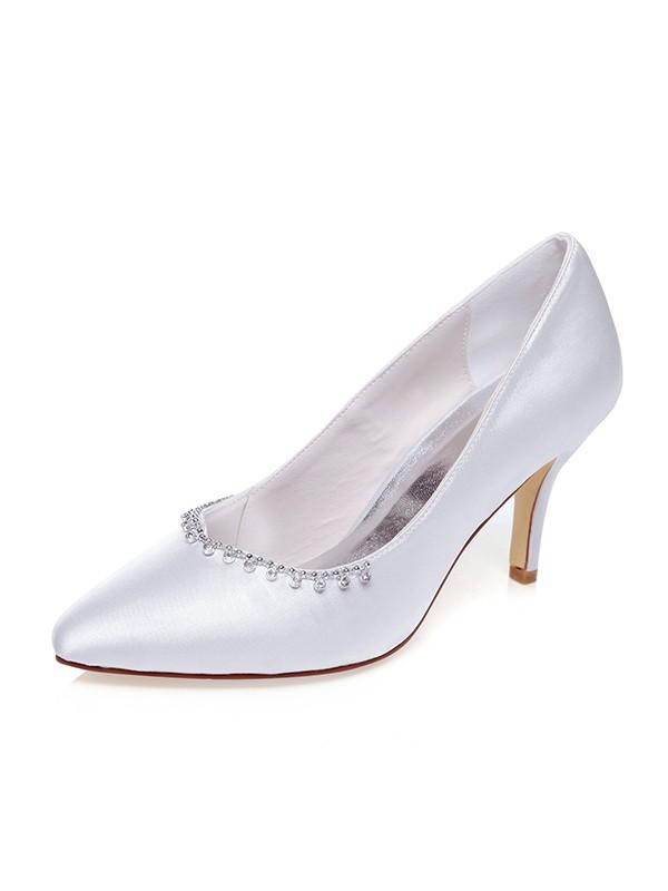 The Most Trendy Women's Satin Closed Toe Beading Stiletto Heel Wedding Shoes