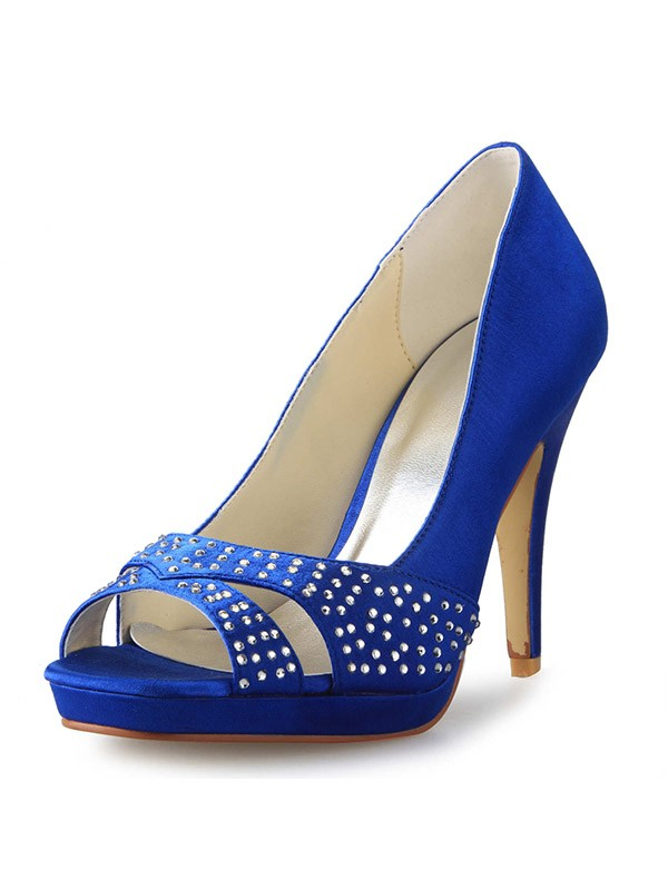 b55d1cdf37a9 The Most Stylish Women s Cone Heel Peep Toe Satin With Rhinestone High Heels
