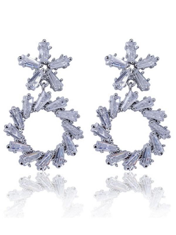 Graceful Copper With Zircon Flower Ladies's Earrings