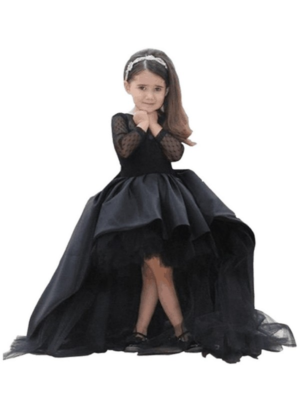 Sweep/Brush Train Ball Gown Scoop Long Sleeves Sash/Ribbon/Belt Satin Flower Girl Dresses