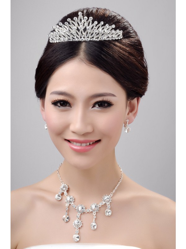 Gorgeous Very Nice Alloy Clear Crystals Wedding Headpieces Necklaces Earrings Set