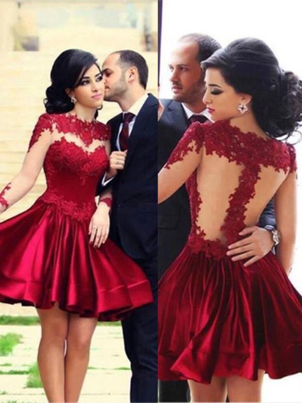 Short/Mini A-Line/Princess High Neck Long Sleeves Lace Elastic Woven Satin Dresses