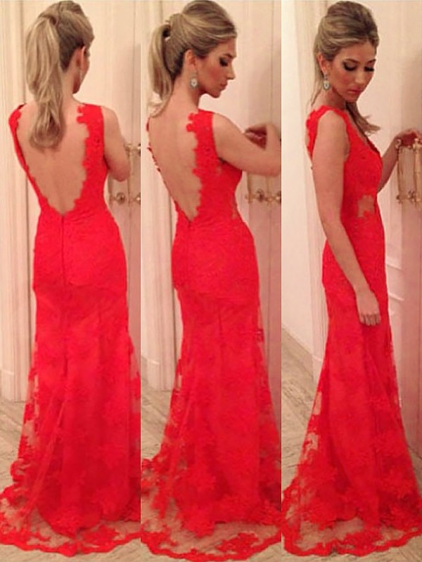 Floor-Length Trumpet/Mermaid V-neck Sleeveless Applique Lace Dresses